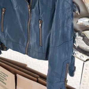 Black Rivet Jackets & Coats - Blue Leather Motorcycle Jacket